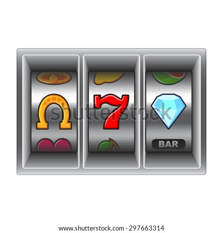 Slot machine with lucky icons vector illustration - stock vector