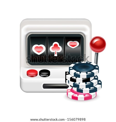 slot machine with poker chips isolated on white background - stock vector
