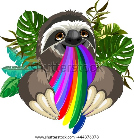 Sloth Spitting Rainbow Colors - stock vector