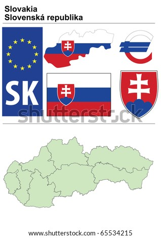 Slovakia collection including flag, plate, map (administrative division), symbol, currency unit & coat of arms - stock vector