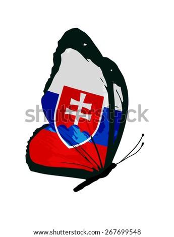 Slovakia flag butterfly - vector - stock vector