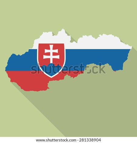 Slovakia flag,map flat icon with long shadow. Vector EPS10