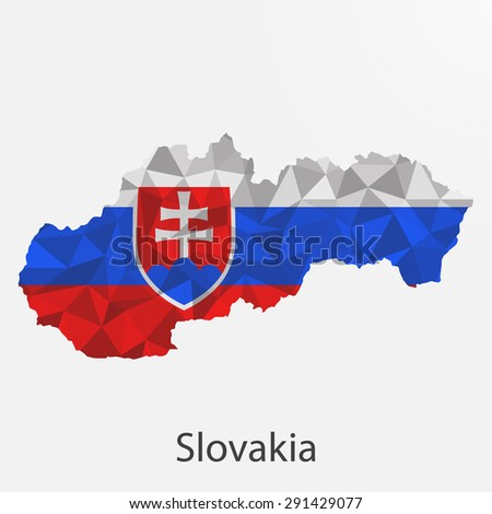 Slovakia flag map in geometric,mosaic polygonal style.Abstract tessellation,background. Vector illustration EPS10