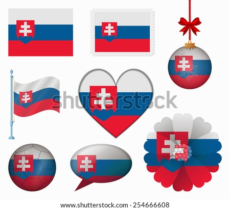 Slovakia flag set of 8 items vector