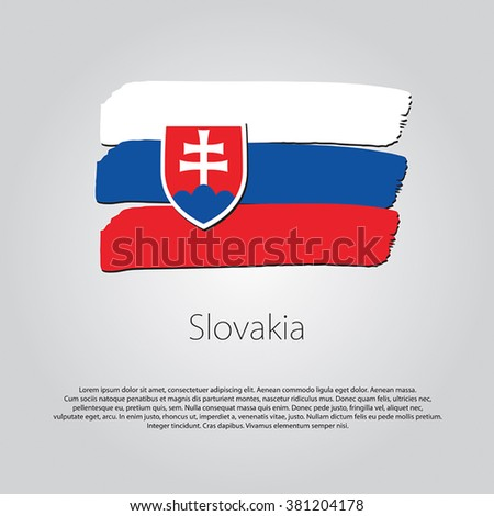 Slovakia Flag with colored hand drawn lines in Vector Format - stock vector
