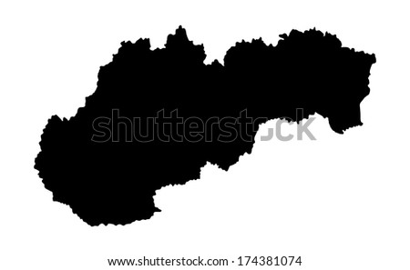 Slovakia high detailed vector map isolated on white background. Black silhouette. - stock vector