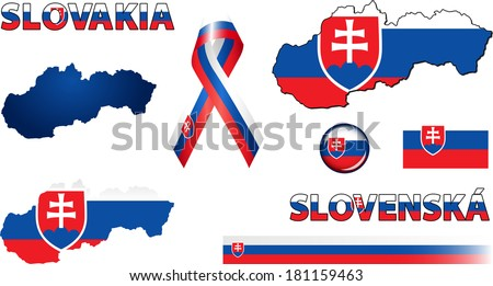 Slovakia Icons. Set of vector graphic images and symbols representing Slovakia. The text says 'Slovakia' in Slovak.
