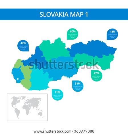 Slovakia map template 1 - stock vector