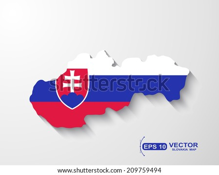 Slovakia map with shadow effect  - stock vector