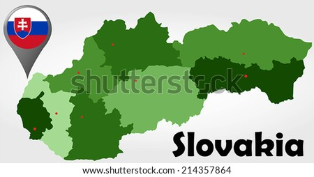 Slovakia political map with green shades and map pointer. - stock vector