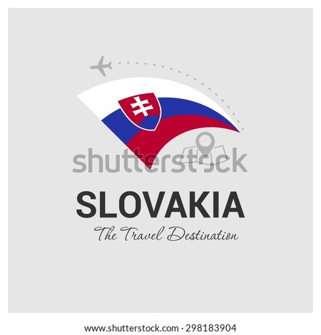 Slovakia The Travel Destination logo - Vector travel company logo design - Country Flag Travel and Tourism concept t shirt graphics - vector illustration - stock vector