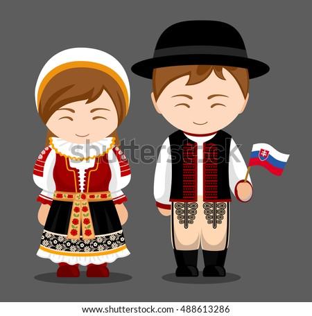 Slovaks National Dress Flag Man Woman Stock Vector