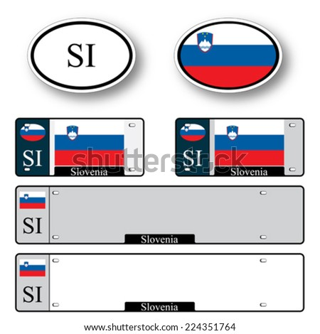 slovenia auto set against white background, abstract vector art illustration, image contains transparency - stock vector