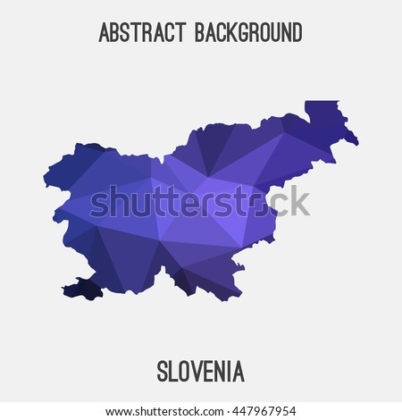 Slovenia map in geometric polygonal,mosaic style.Abstract tessellation,modern design background. Vector illustration EPS8