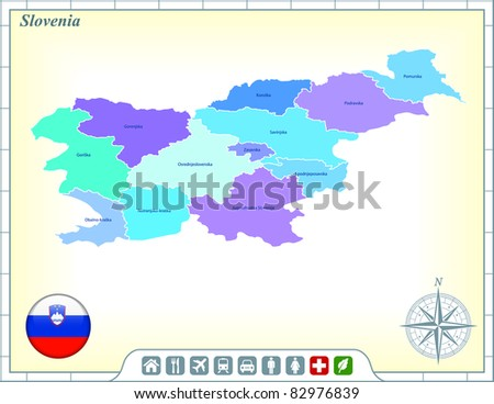 Slovenia Map with Flag Buttons and Assistance & Activates Icons Original Illustration - stock vector