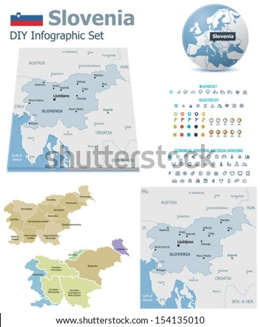 Slovenia maps with markers - stock vector