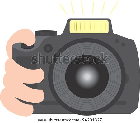 SLR camera digital or film held and taking a picture - stock vector