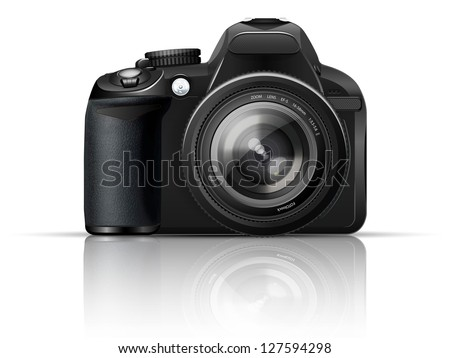 SLR camera on a white background with the reflection of the - stock vector