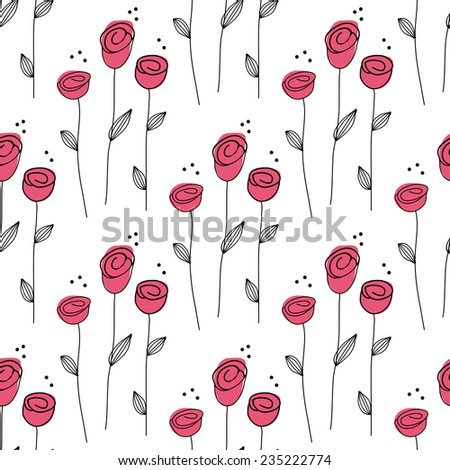 Small abstract rose seamless pattern. Vector Illustration. Can be used for web, paper, wrap, wallpaper, textile and other design. - stock vector