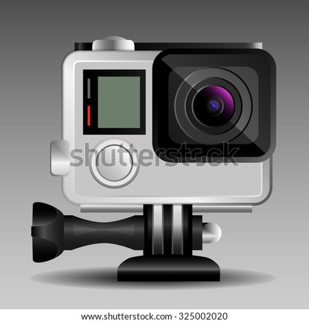 Small action camera in a protective case. Detailed vector illustration. - stock vector