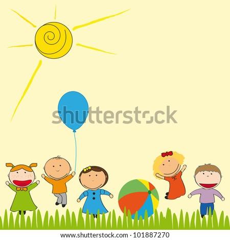 Small and happy kids  in summer garden - stock vector