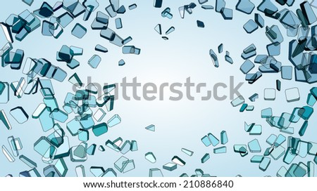Small and large pieces of shattered glass on blue - stock vector