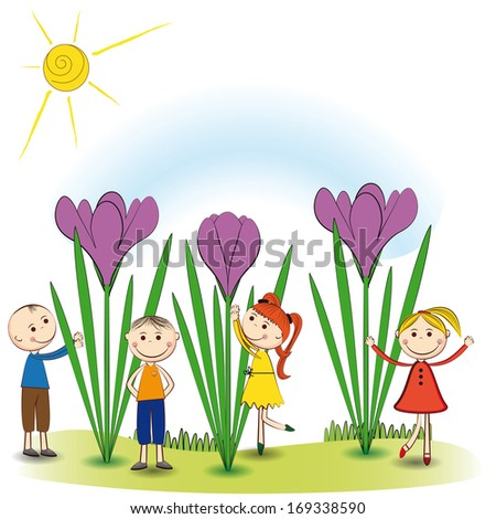 Small and smile boys and girls in spring garden - stock vector