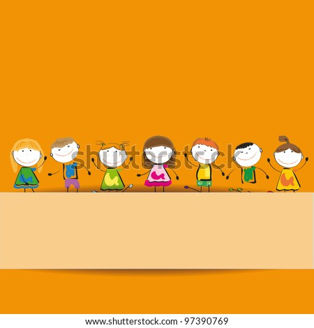 Small and smile kids with banner - stock vector