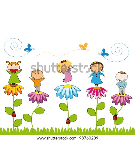 Small And Smile Kids With Flowers In Garden