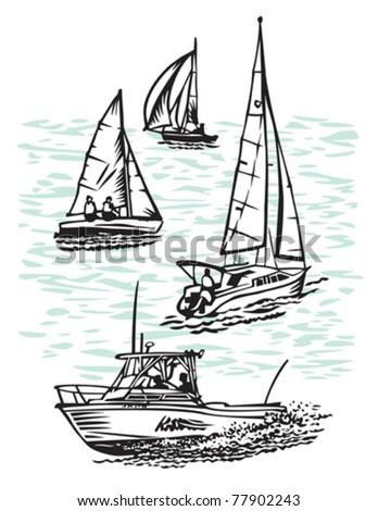 small boats - stock vector