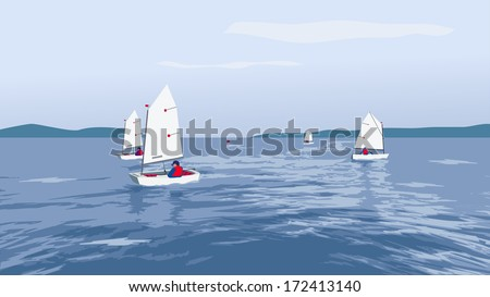 small boats sailing on a summer breeze - stock vector