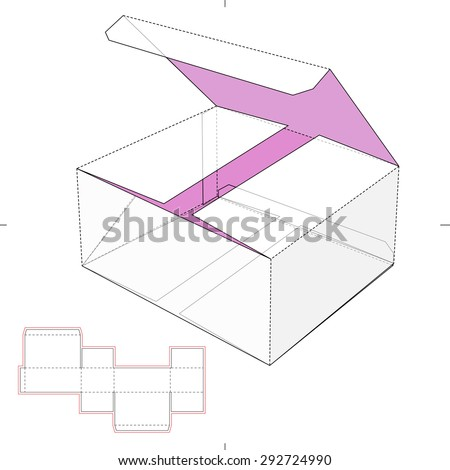 Small Box with Die-cut Pattern - stock vector