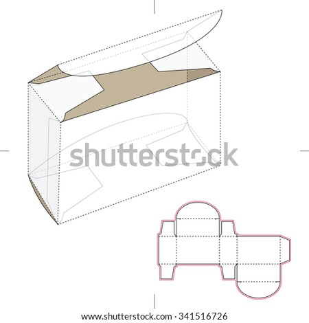 small box die cut template stock vector 341516726 shutterstock. Black Bedroom Furniture Sets. Home Design Ideas