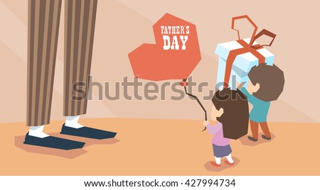 Small Boy Girl Give Present Balloon Man Long Legs Father Day Holiday Children Greeting Vector Illustration