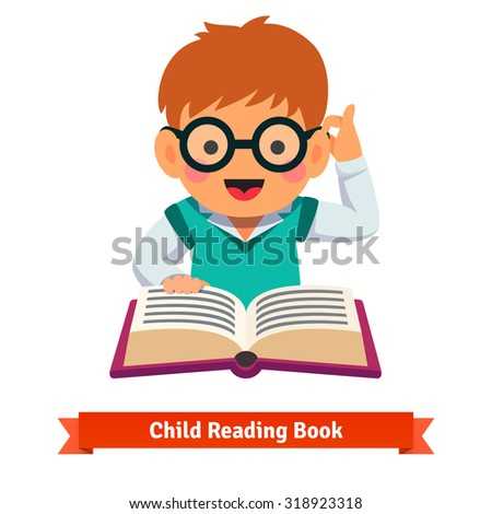 Small boy playing in glasses reading book. Flat style vector cartoon illustration isolated on white background.