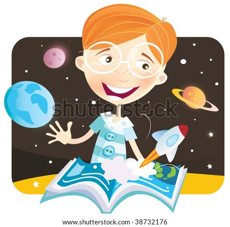Small boy with story book. Small astronaut – space story begin! Vector Illustration.
