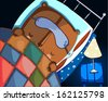 Small brown teddy bear with a sleeping mask lies on the bed under the quilt, and on a chair near the bed stands a bedside lamp. - stock vector