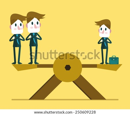 Small businessman weighting balance with two other big business people. Human resource concept.  vector illustration - stock vector