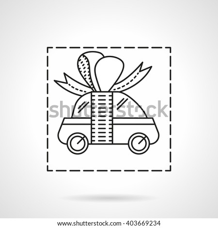 Small car with ribbon bow. Car prize. Automobile for gift. Car insurance. Advertising campaign and sale vehicles. Vector icon flat thin line style. Element for web design, business, mobile app.  - stock vector