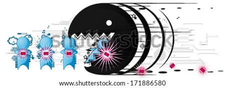 Small character figures with electronic gadgets cartoon, vector, isolated  - stock vector