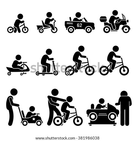 Small Children Riding Toy Vehicles and Bicycle Stick Figure Pictogram Icons - stock vector