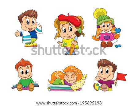 small children, set , vector illustration on white background - stock vector