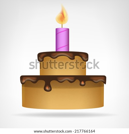 small chocolate glazed cake isolated vector illustration