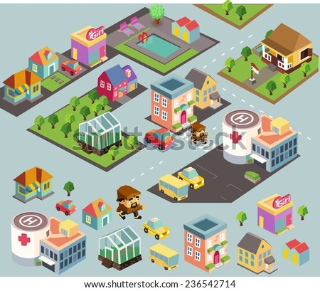 Small city environment. isometric vector illustration - stock vector