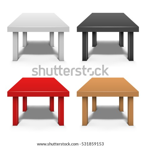 Small Coffee Table Isolated On White Background With Shadow Effect Vector  Template In White, Black