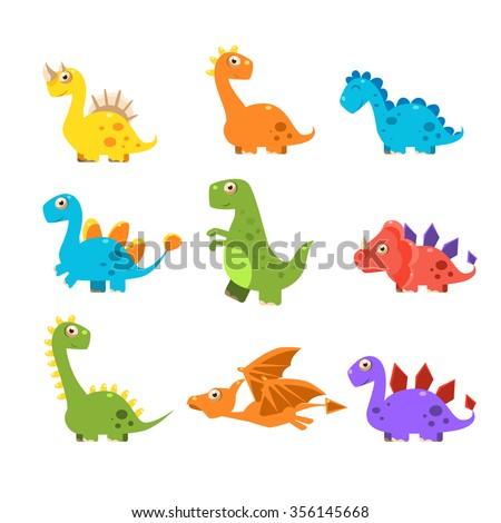 Small Colurful Dinosaur Set. Vector Illustration - stock vector