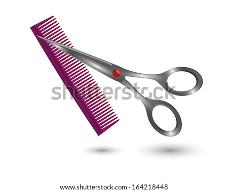 small comb and metal scissors on white background