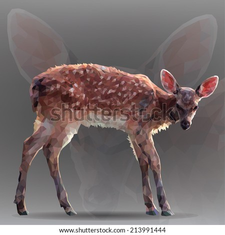 Small deer in geometrical style - stock vector