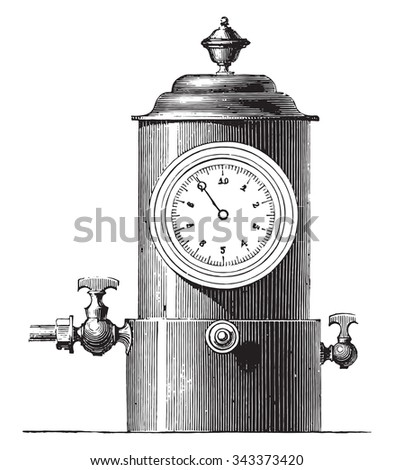 Small dial gauge for gas plant, vintage engraved illustration. Industrial encyclopedia E.-O. Lami - 1875. - stock vector