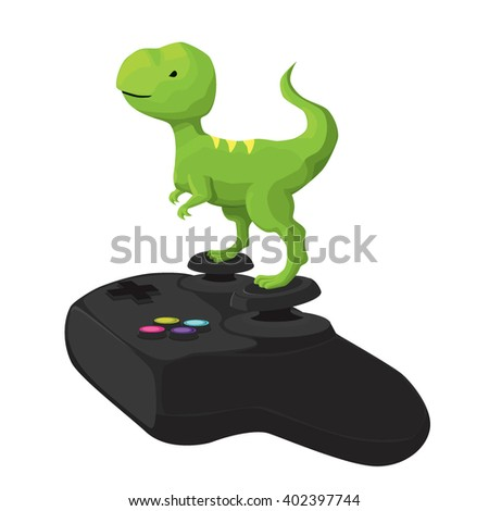 Small dinosaur playing with joystick